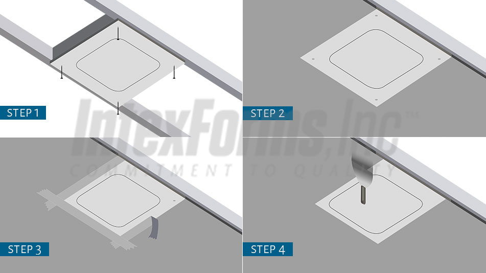 4 Step guide to the IntexForms access panel installation process.